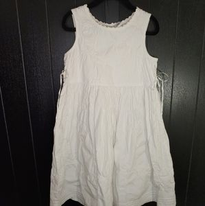 EUC embroidered white on white high-waisted dress